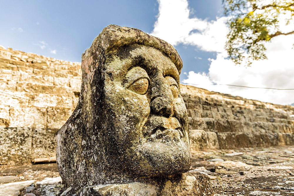 A face carving of Pauahtun in East Court at the Copan Ruins, UNESCO World Heritage Site, Copan, Honduras, Central America