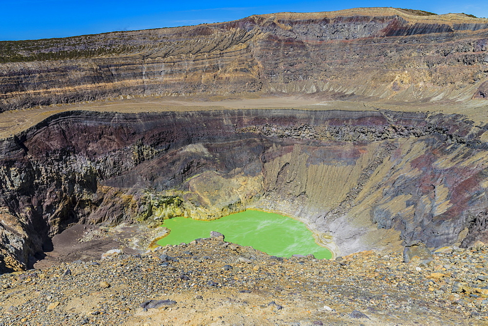 A view of the volcanic crater and colourful crater lake on Santa Ana Volcano in Santa Ana in El Salvador, Central America. - 1297-172