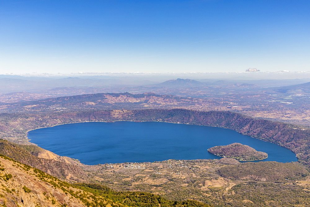 A view of Coatepeque Lake in Santa Ana in El Salvador, Central America. - 1297-173