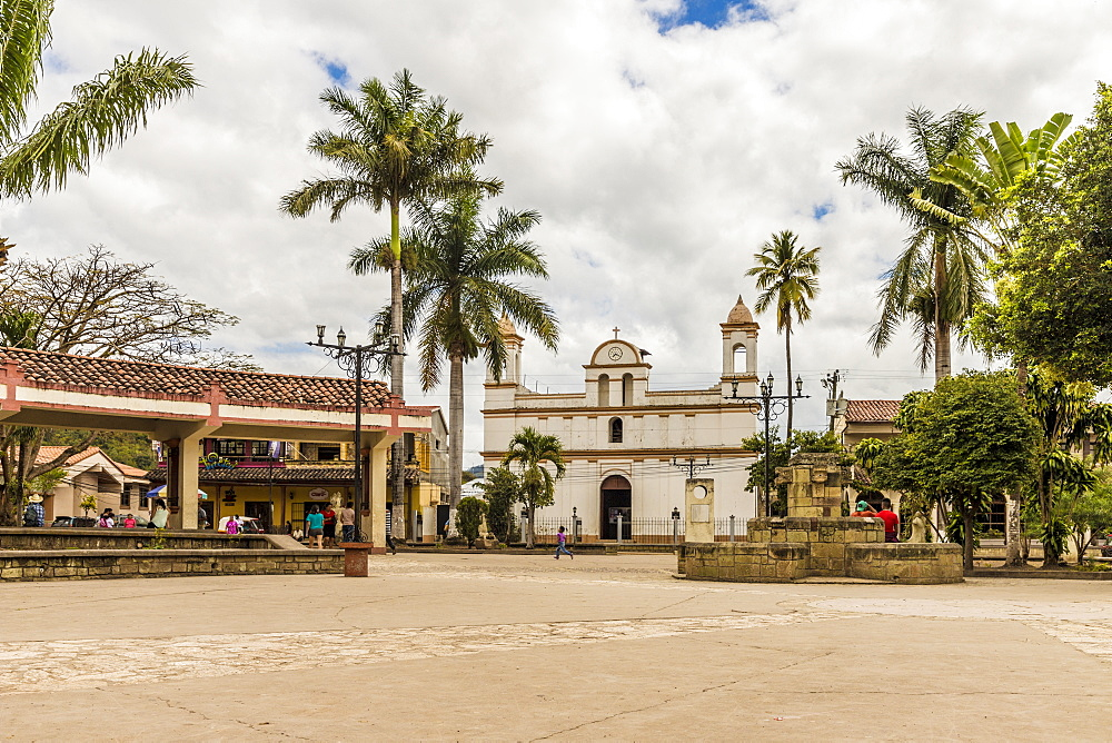 The Catolica Church on the main square in Copan Town, Copan, Honduras, Central America