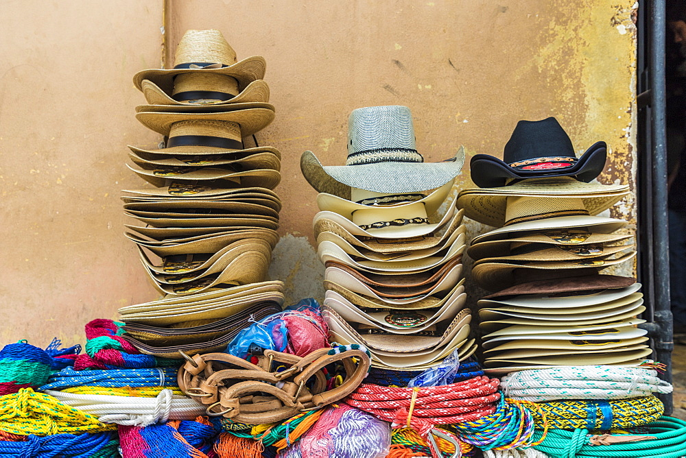 Traditional local cowboy hats for sale in Copan Town, Copan, Honduras, Central America