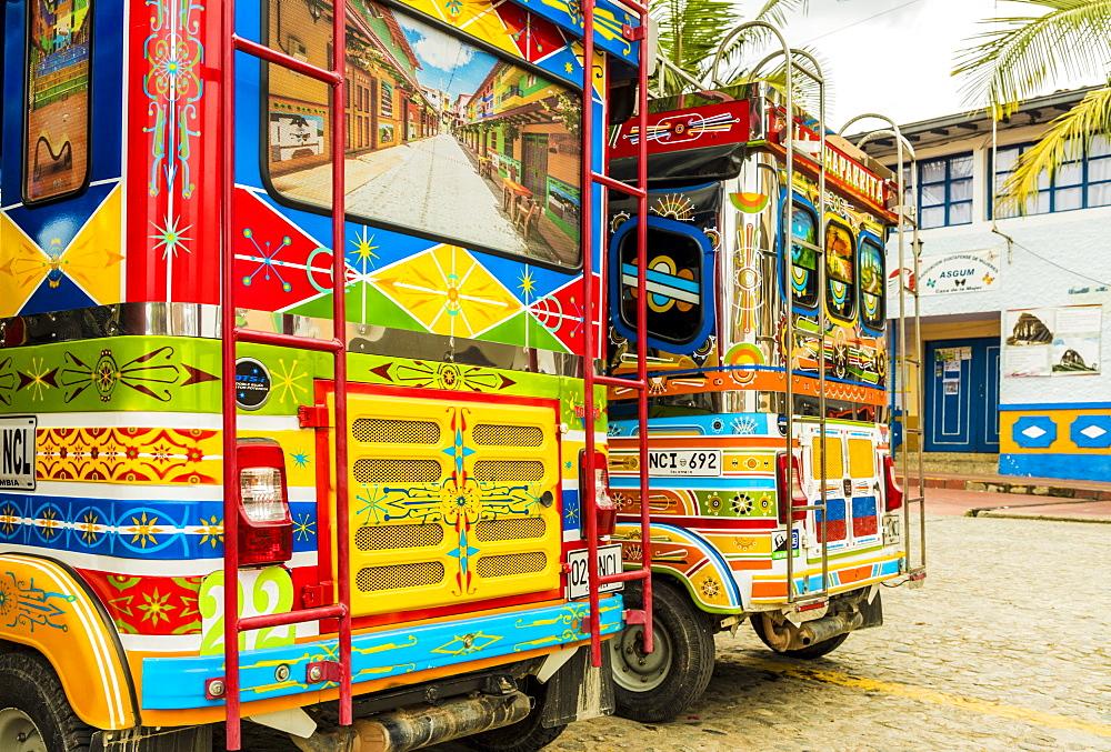Colourful tuk tuks in Guatape, Colombia, South America