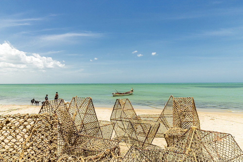 Local fishing traps on the Caribbean beach in Cabo de la Vela, Guajira, Colombia, South America.
