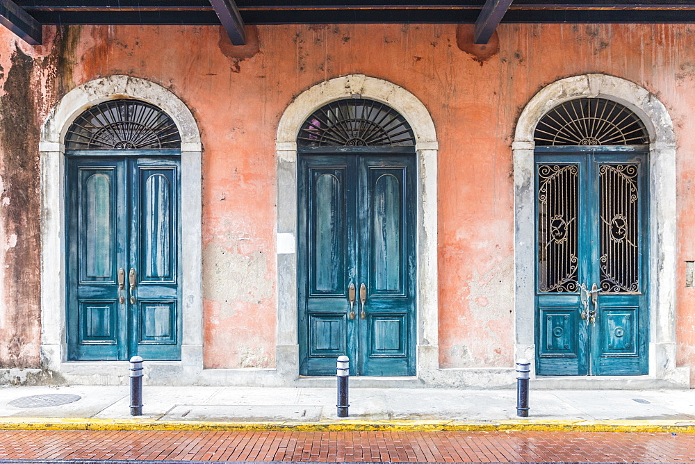 Typically colourful architecture in the historic old quarter (Casco Viejo) in Panama City, Panama, Central America.