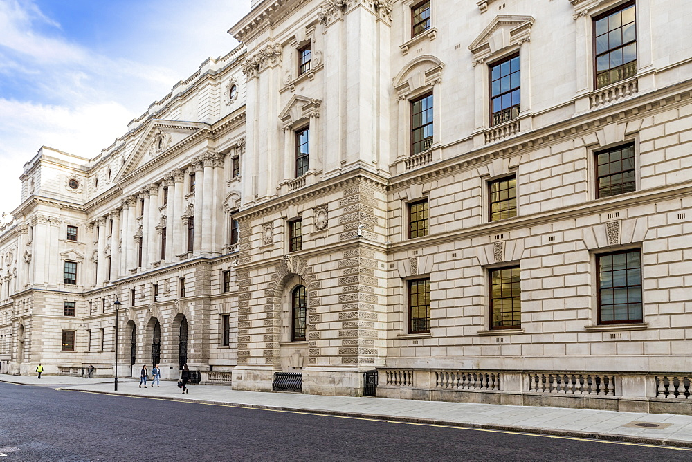 The grand architecture of the Treasury building in Whitehall, Westminster, London, England, United Kingdom, Europe