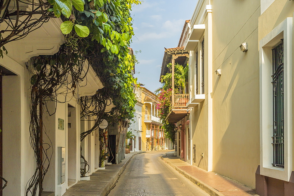 A street scene in Cartagena , Colombia, South America.