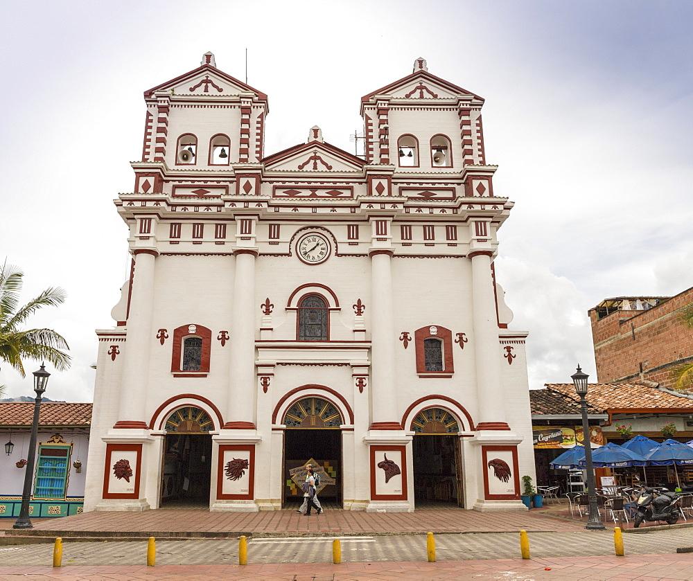 The Church of Nuestra Senora del Carmen, in Guatape, Colombia, South America.