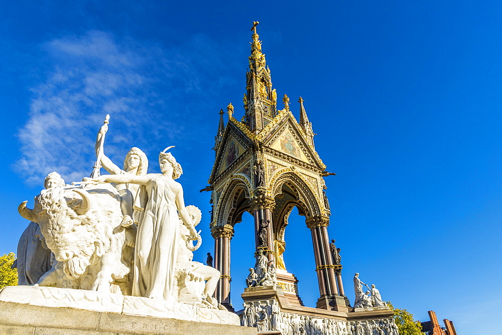 The America sculpture and the Albert Memorial in Kensington Gardens, London, England, United Kingdom, Europe