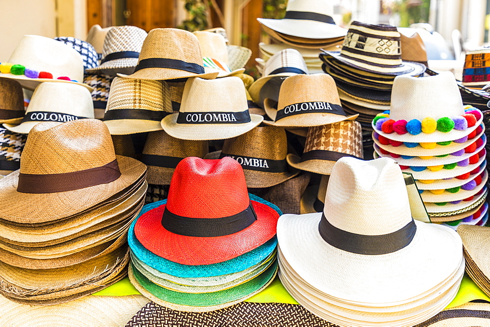 A view of hats for sale in Cartagena, Colombia, South America