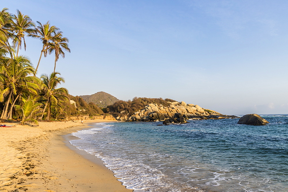 A view of a beach and the Caribbean sea in Tayrona National Park, Colombia, South America