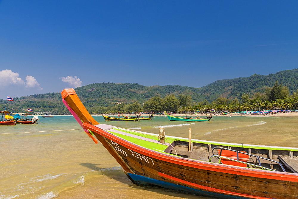 Traditional boats on Kamala beach in Phuket, Thailand, Southeast Asia, Asia