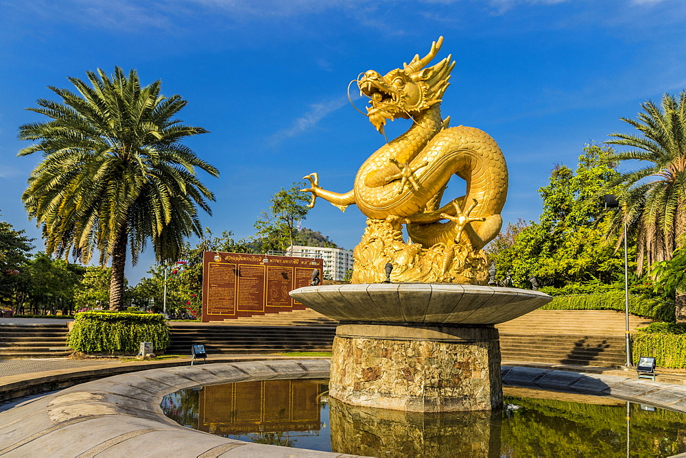 The Hai Leng Ong Statue (Golden Dragon Monument) in Phuket Old Town, Phuket, Thailand, Southeast Asia, Asia