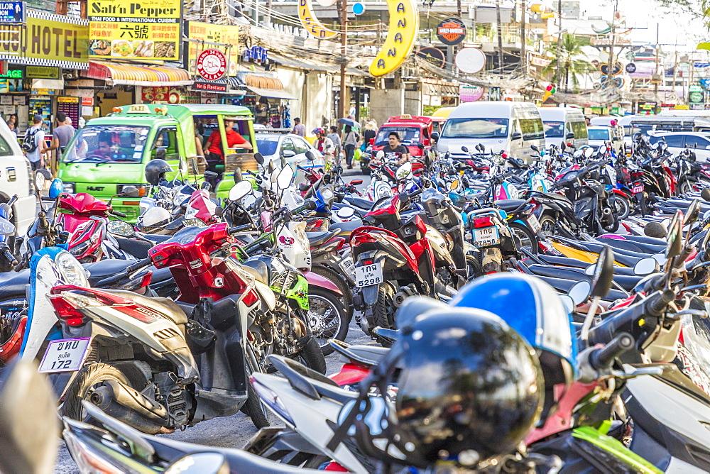 Motorbike parking in Patong, Phuket, Thailand, Southeast Asia, Asia