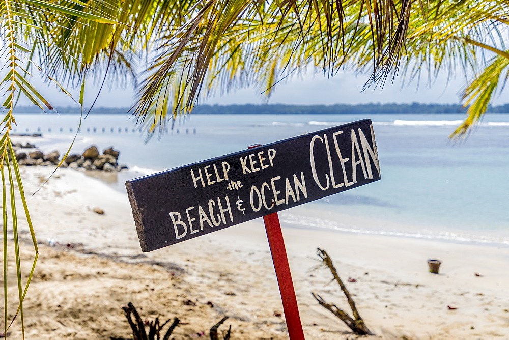 A sign on Bocas del Drago beach, Colon Island, Bocas del Toro Islands, Panama, Central America