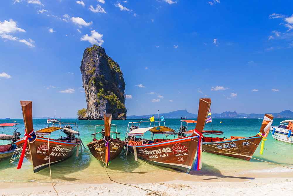 Long tail boats on Poda Island in Ao Nang, Krabi, Thailand, Southeast Asia, Asia