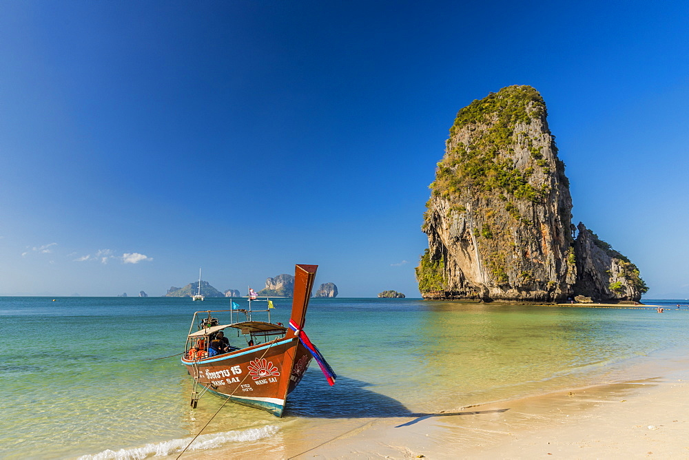 Long tail boat on Phra Nang Cave Beach on Railay in Ao Nang, Krabi Province, Thailand, Southeast Asia, Asia