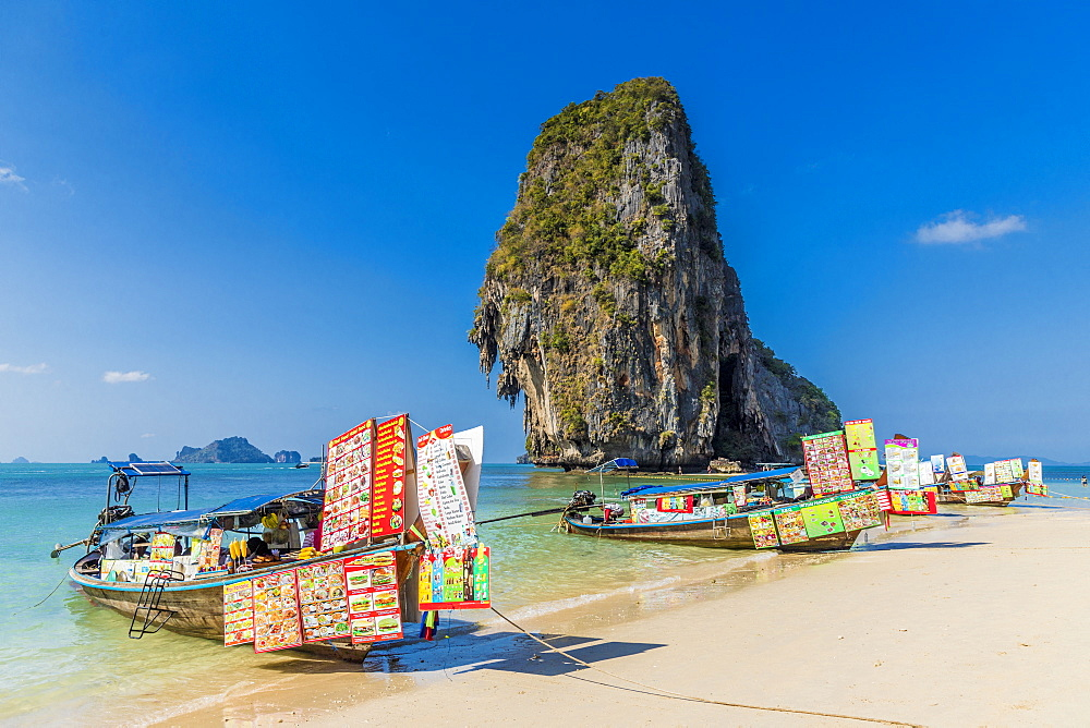 Food stalls on long tail boats on Phra Nang Cave Beach on Railay in Ao Nang, Krabi Province, Thailand, Southeast Asia, Asia