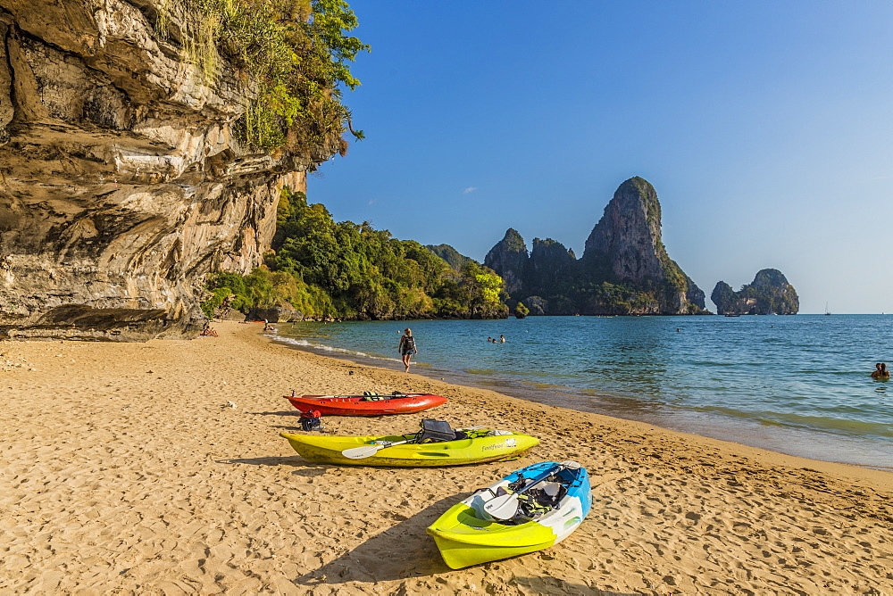 Tonsai beach and karst landscape in Railay, Ao Nang, Krabi Province, Thailand, Southeast Asia, Asia.
