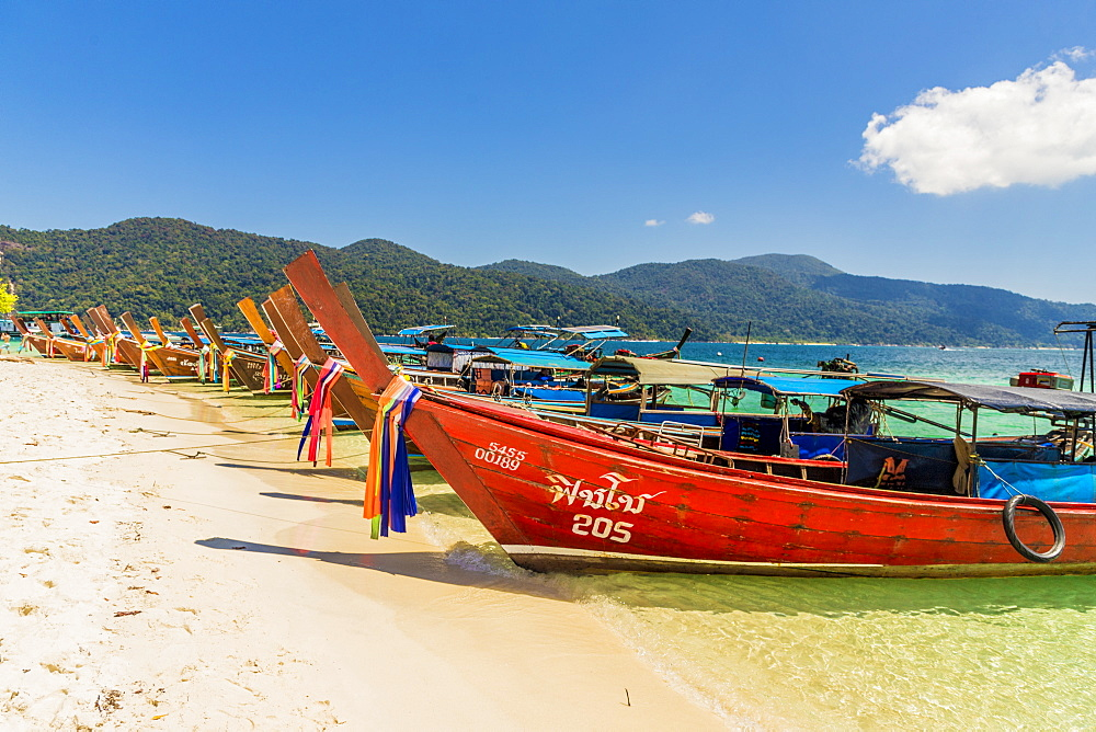 Long tail boats on Ko Rawi island in Tarutao Marine National Park, in Thailand, Southeast Asia, Asia.