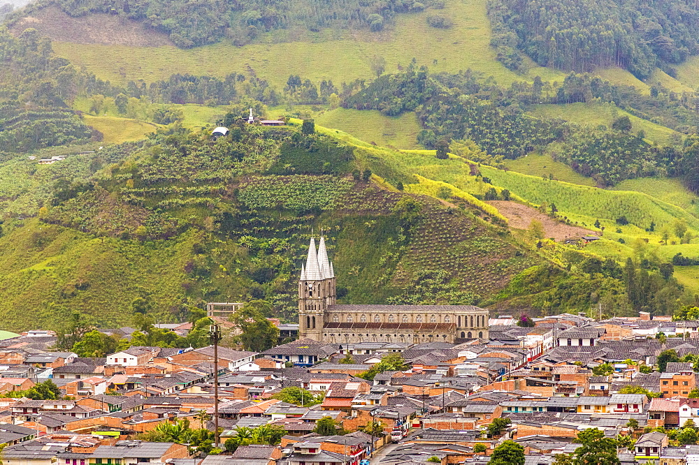A view of the Minor Basilica of the Immaculate Conception church from a viewpoint in Jardin, Colombia, South America