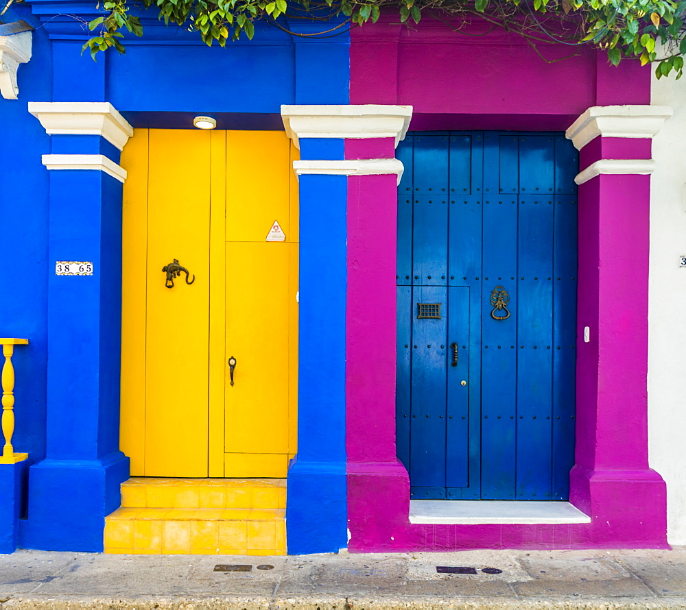 A colourful colonial building in the old town of Cartagena de Indias, Colombia, South America
