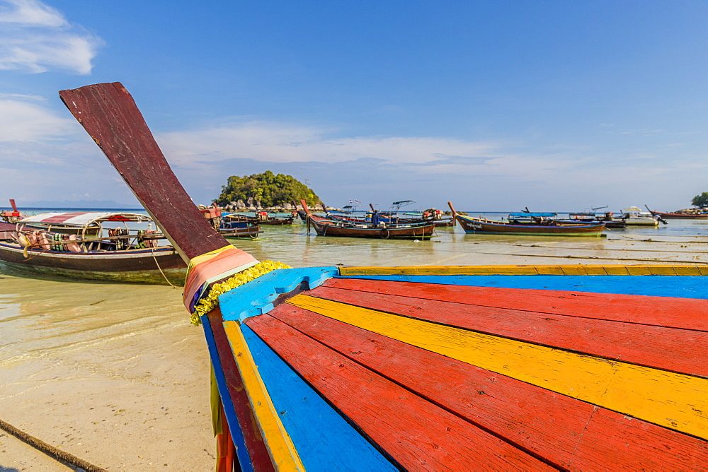 Colourful long tail boat in Ko Lipe, in Tarutao National Marine Park, Thailand, Southeast Asia, Asia.