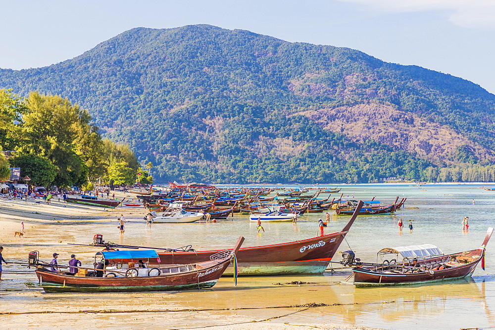 Long tail boats in Ko Lipe, in Tarutao National Marine Park, Thailand, Southeast Asia, Asia.
