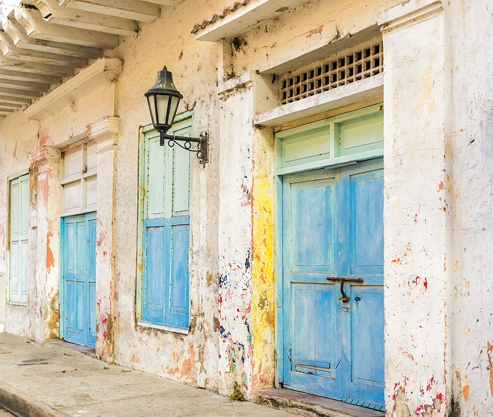 A traditional building in the old town in Cartagena de Indias, Colombia, South America