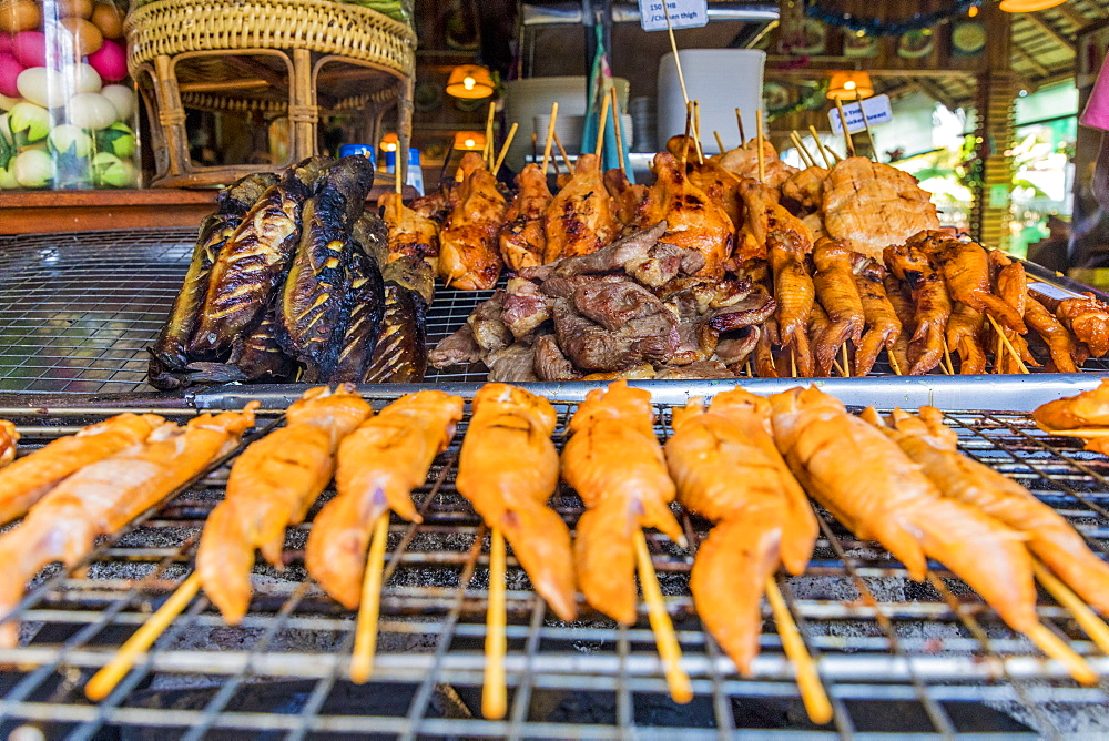 A barbeque meat stall in Ko Lipe, Tarutao National Marine Park, Thailand, Southeast Asia, Asia.