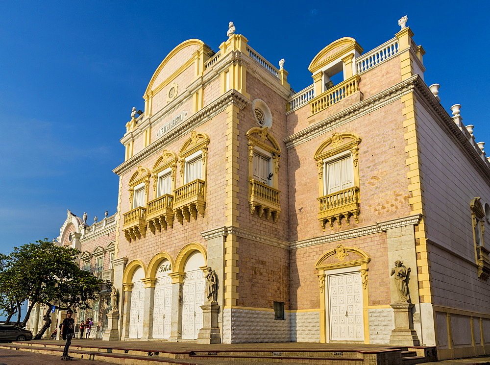 The facade of the Teatro Heredia (Teatro Adolfo Mejia) in Cartagena de Indias, Colombia, South America