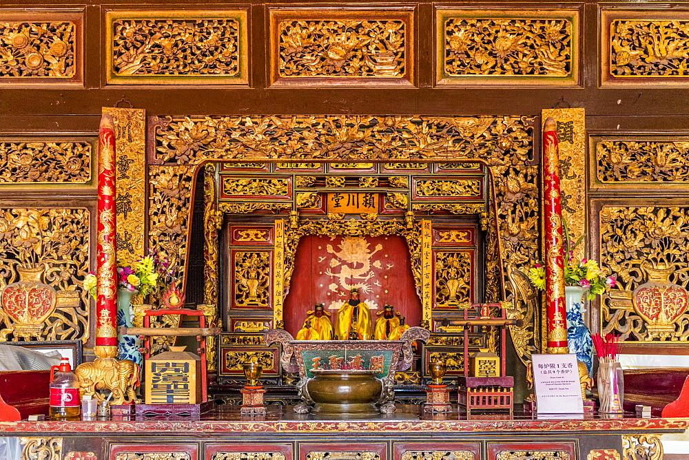 The interior of Eng Chuan Tong Tan Kongsi clan house in George Town, Penang Island, Malaysia, Southeast Asia, Asia.