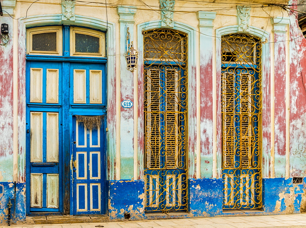 A beautifully aged colourful building in Havana, Cuba, West Indies, Caribbean, Central America