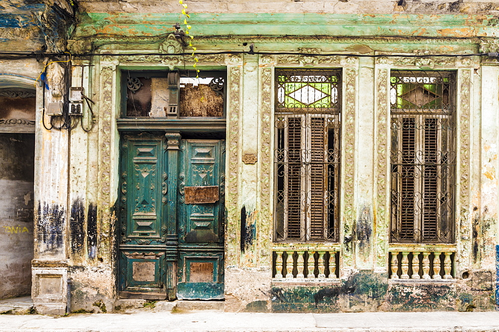 A beautifully aged building in Havana, Cuba, West Indies, Caribbean, Central America