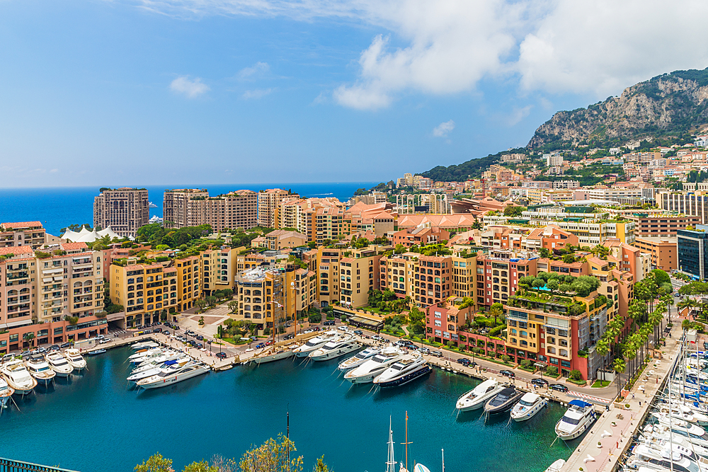 Fontvieille harbour in Monte Carlo, Monaco, Cote d Azur, French Riviera, Mediterranean, France, Europe