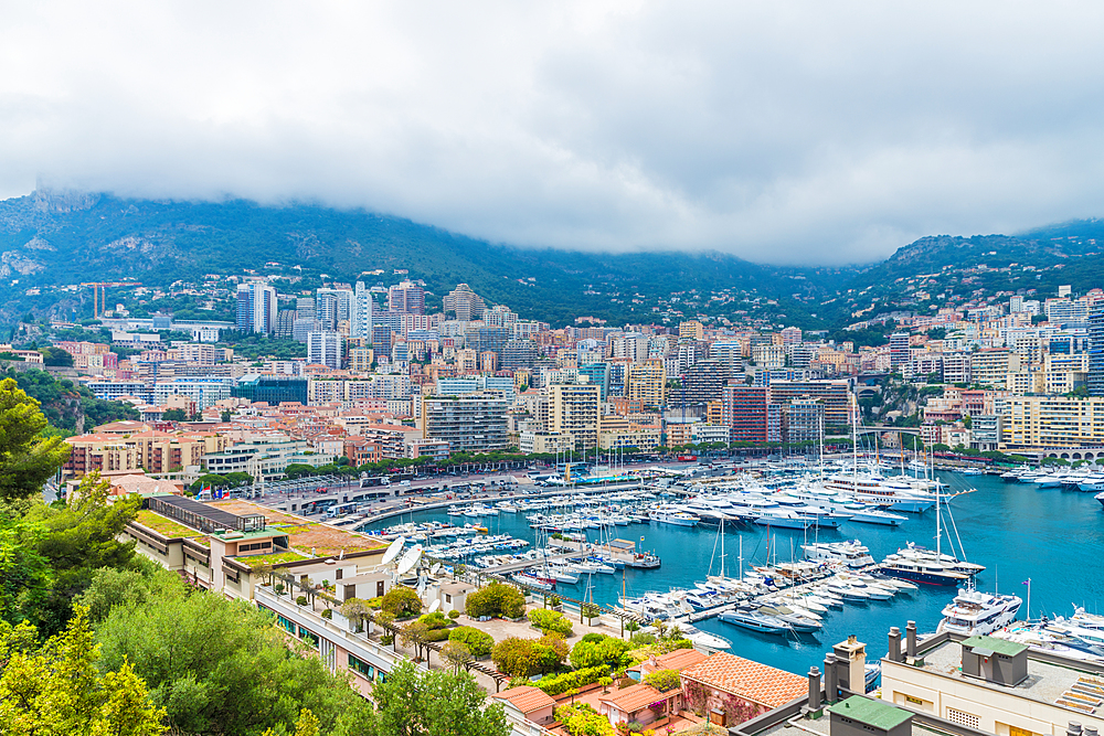 A view over the Monte Carlo port, Port Hercule in Monte Carlo, Monaco, Cote d Azur, French Riviera, Mediterranean France, Europe