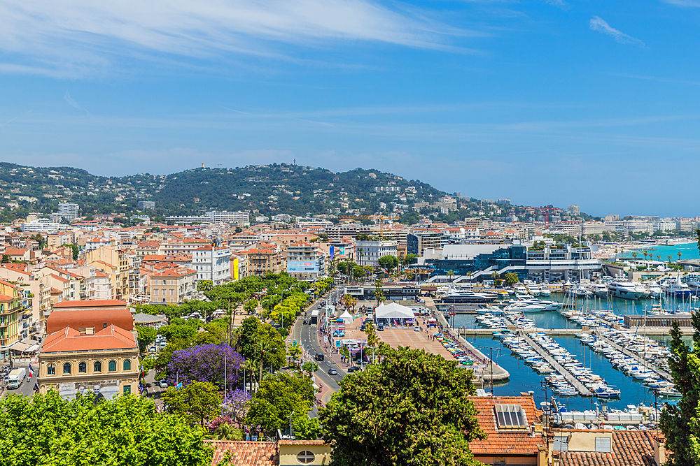 An aerial view over Cannes, Alpes Maritimes, Cote d'Azur, Provence, French Riviera, France, Mediterranean, Europe