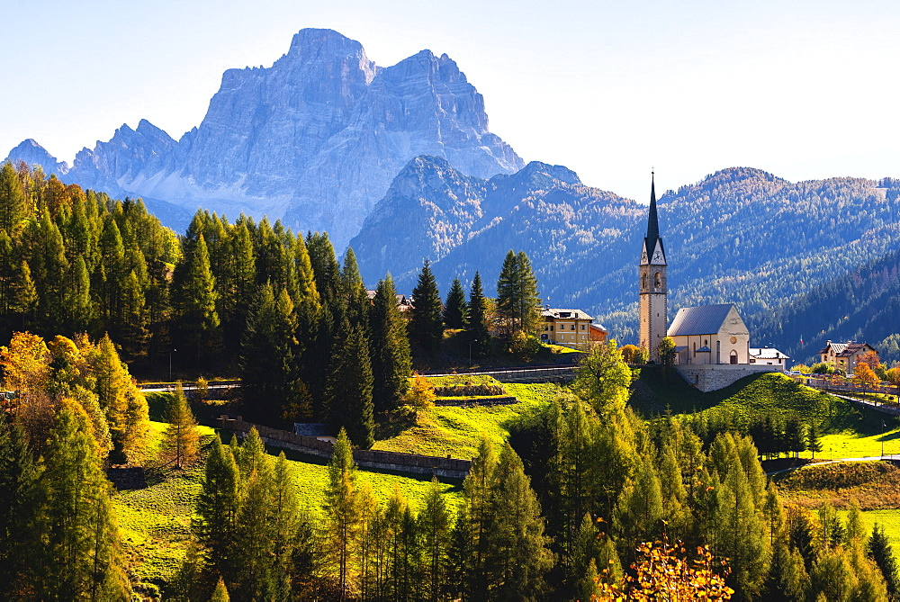 The church of Selva di Cadore and Mount Pelmo, Dolomites, UNESCO World Heritage Site, Belluno province, Veneto, Italy, Europe - 1299-101