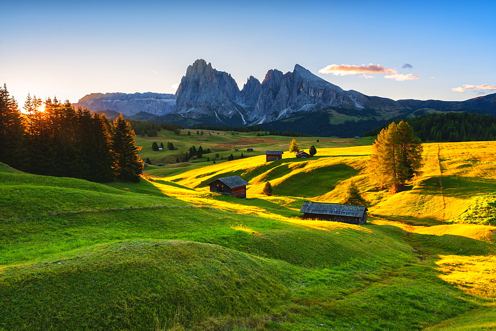 Sunrise in Seiser Alm, Dolomites, UNESCO World Heritage Site in Trentino-Alto Adige, Italy, Europe - 1299-105