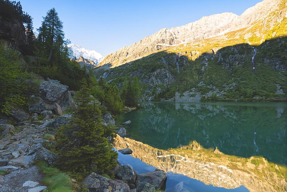 Aviolo Lake in Adamello Park, Val Camonica, Brescia province, Lombardy, Italy, Europe - 1299-12
