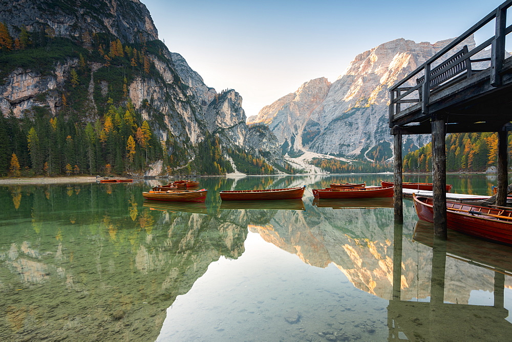 Lake of Braies in autumn with the typical boats of the place in Trentino Alto Adige, Bolzano province, Italy, Europe - 1299-122
