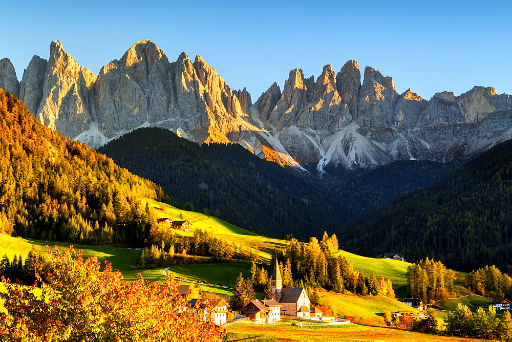 Funes valley in autumn season, Santa Magdalena in Trentino Alto Adige, Bolzano province, Italy, Europe - 1299-126