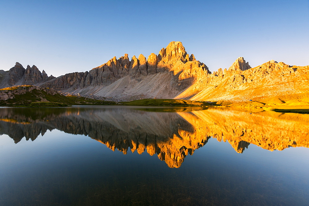 Alpine lake in the morning, Laghi dei Piani, Tre Cime di Lavaredo Natural Park, Dolomites, Bolzano Province, Trentino-Alto Adige, Italy, Europe