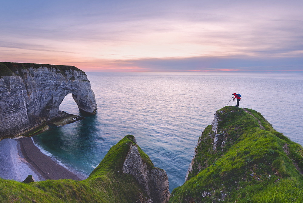 Les Falaises (cliffs) of Etretat at sunset, Etretat, Normandy, France, Europe