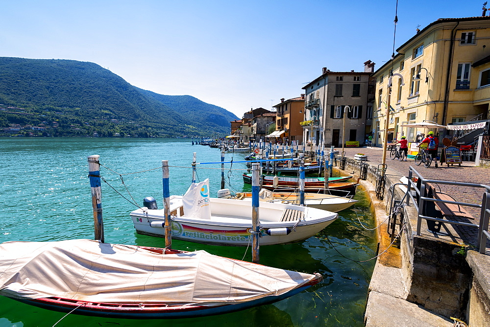 Boats moored at Monte Isola, the largest lake island in Europe, Province of Brescia, Lombardy, Italy, Europe - 1299-46
