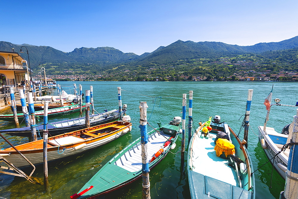 Boats moored at Monte Isola, the largest lake island in Europe, Province of Brescia, Lombardy, Italy, Europe - 1299-47