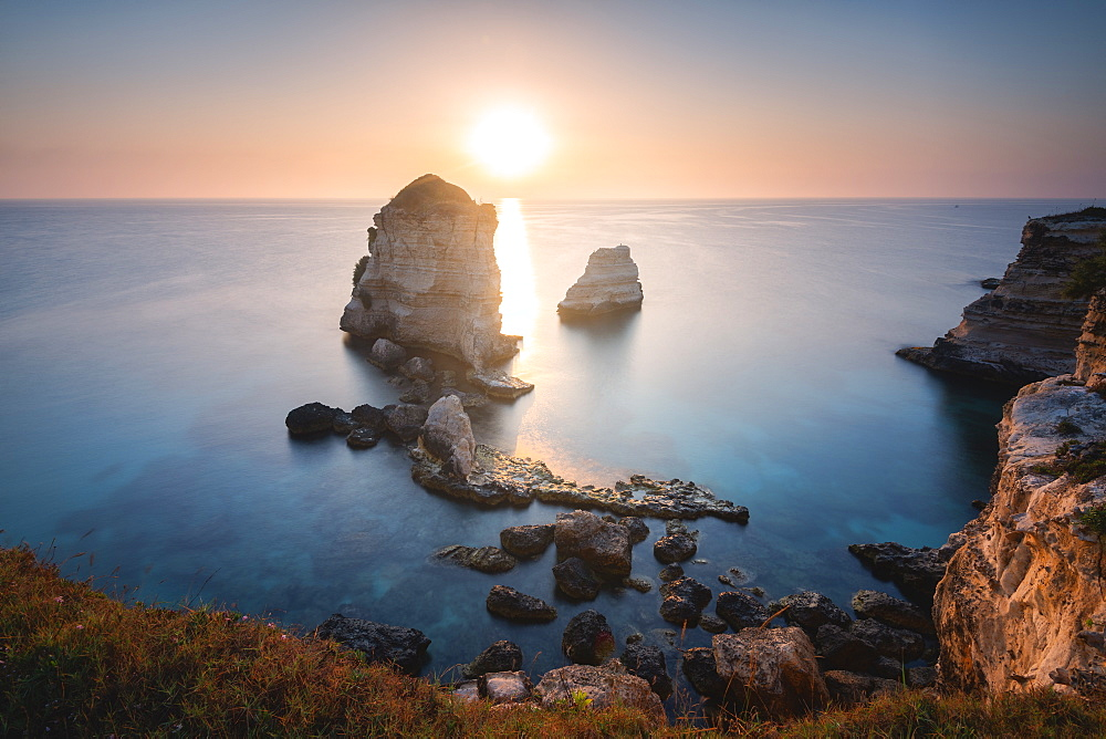 Sunrise at the Faraglioni of Torre dell'Orso, Meledugno, Lecce province, Apulia, Italy, Europe - 1299-64