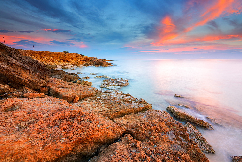 Rocks on the Salento coast at sunset, Dunes of Campomarino, Taranto province, Apulia, Italy, Europe - 1299-67