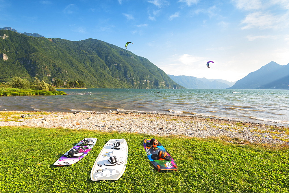 Kytesurf on Lake Idro, Valle Sabbia in Lombardy District, Brescia Province, Italy. - 1299-74