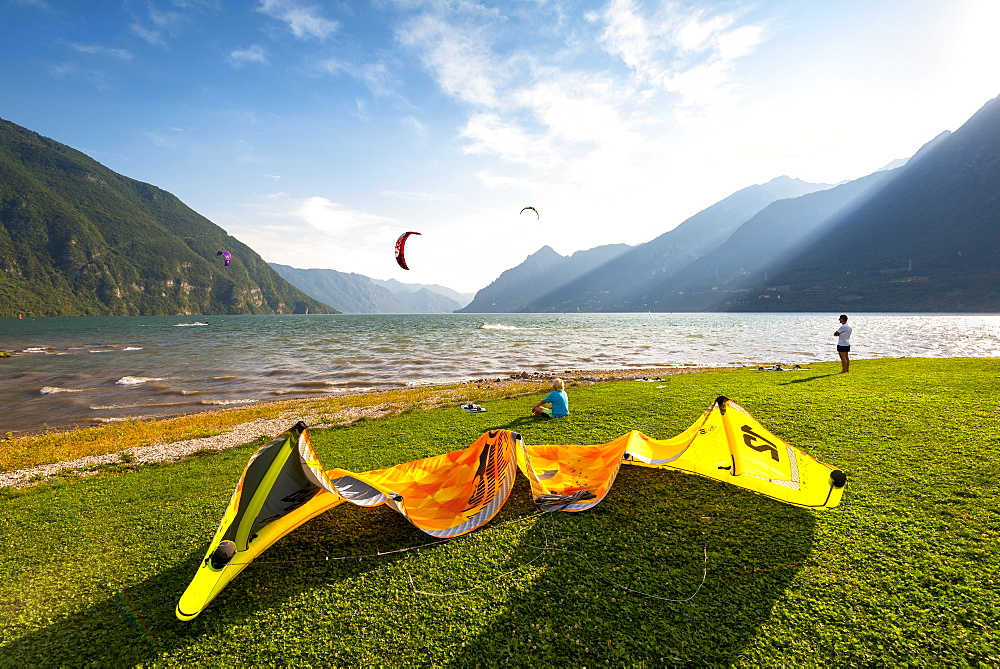 Kytesurf on Lake Idro, Valle Sabbia in Lombardy District, Brescia Province, Italy. - 1299-76