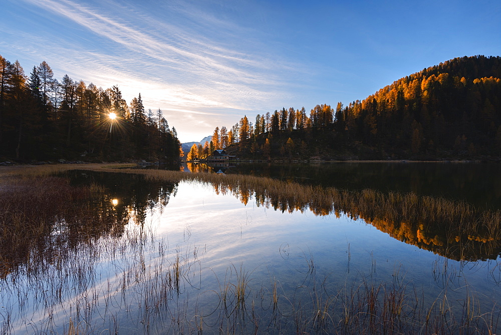 Autumn sunrise at Lake Malghette, Val Rendena, Trentino-Alto Adige, Italy, Europe - 1299-87
